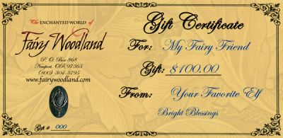 Gift Certificate in Gift ideas at Fairy Woodland